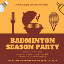 SUNDAY 19th MAY 2019 - TOURNAMENT & BARBECUE